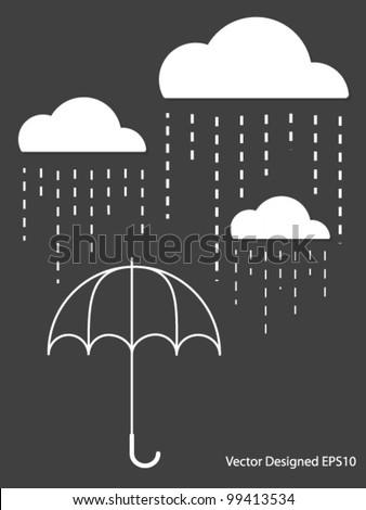 White Cloud with Rain drop on umbrella - Vector - stock vector