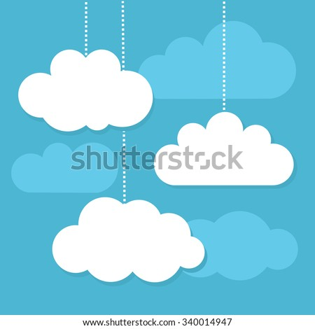 White clouds and blue sky. Vector illustration