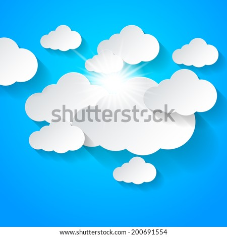 White clouds and sun shining on blue sky. - stock vector