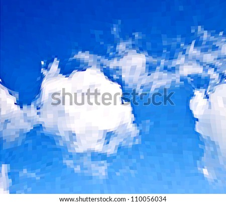 White clouds in the blue sky. Vector mosaic background