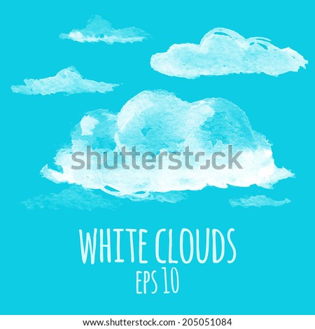 White clouds in the clear blue sky in watercolor style - stock vector
