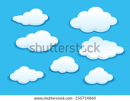 White clouds set on blue sky for weather or another design. Bitmap (jpeg) version also available in gallery - stock vector