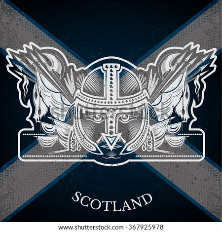 White Coat of Arms With Head of Warrior and Vintage Weapons on Scotland Flag Background. Brand or T-shirt style - stock vector