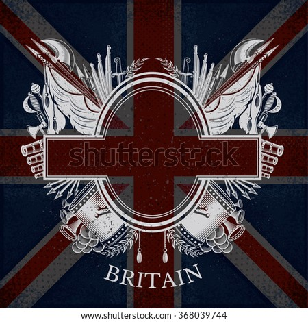 White Coat of Arms With Oval Frame and Vintage Weapons on Britain Flag Background. Brand or T-shirt style - stock vector