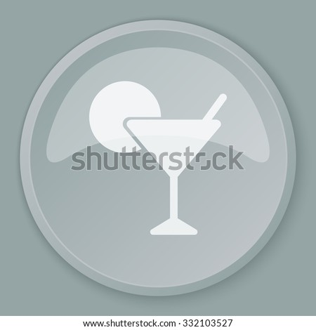 White Cocktail icon on grey web button