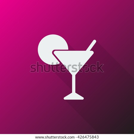 White Cocktail icon on pink background