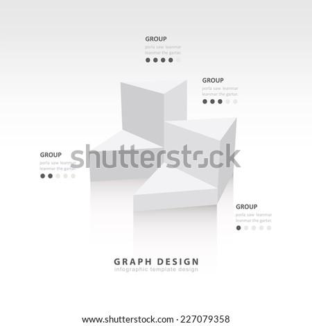 white colore  triangle graph infographic - stock vector
