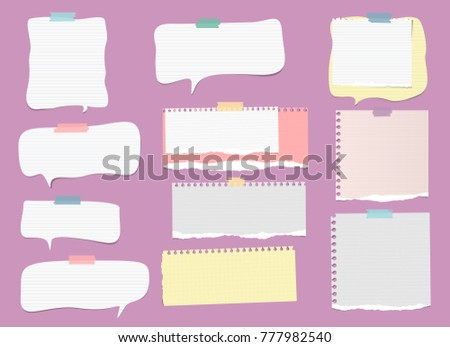 White, colorful ripped lined note, notebook paper strips, speech bubble for text or message stuck with sticky tape on violet background.