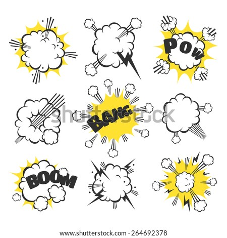 White comic explosion. Set for toys, comics and books. - stock vector