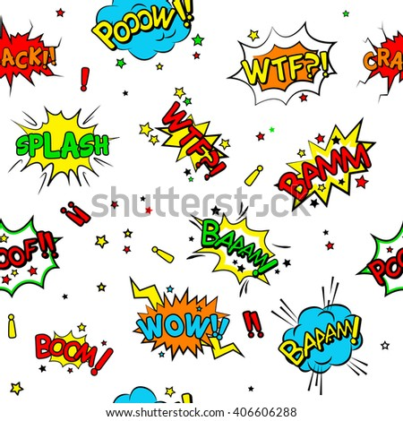white comics themed pattern, seamless texture background - stock vector