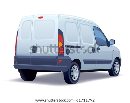 White commercial vehicle - delivery van on a white background. - stock vector
