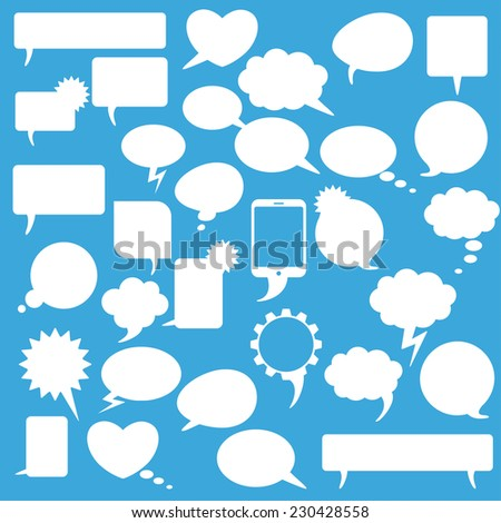 White communication bubbles on the blue background. Eps 10 vector file.