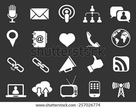 white communication icons set - stock vector