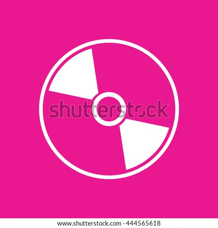 White compact disc icon. CD / DVD vector illustration. Pink background - stock vector