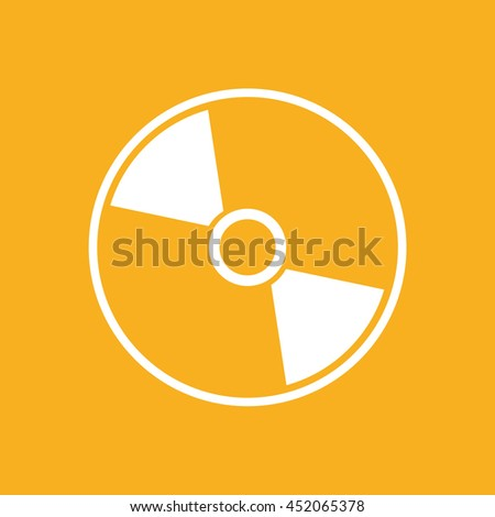 White compact disc icon. CD / DVD vector illustration. Yellow background - stock vector