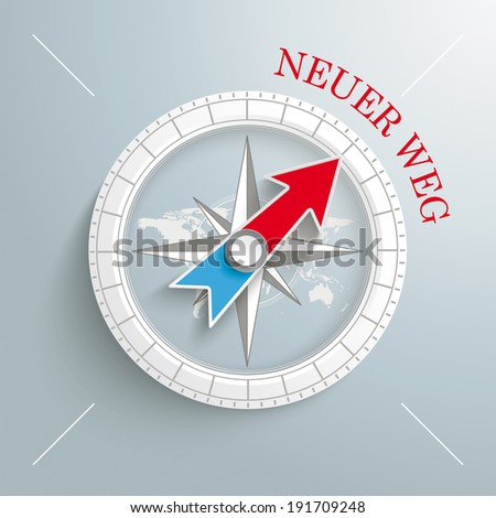"""White compass with red german text """"Neuer Weg"""", translate """"New Way"""" on the grey background.  Eps 10 vector file. - stock vector"""