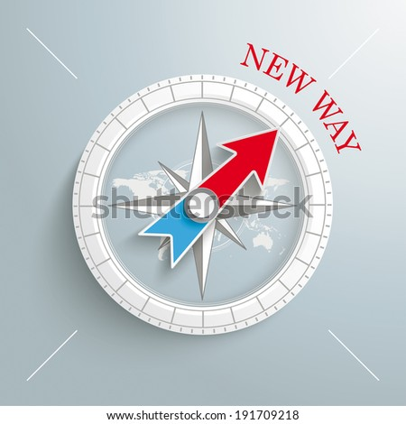 """White compass with red text """"New Way"""" on the grey background.  Eps 10 vector file. - stock vector"""