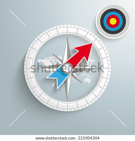 """White compass with red text """"Target"""" on the grey background.  Eps 10 vector file. - stock vector"""