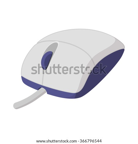 White computer mouse cartoon icon isolated on a white background - stock vector