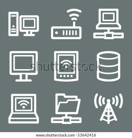 White contour network web icons on grey - stock vector