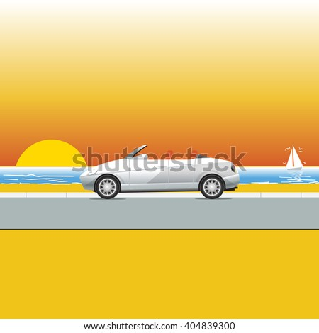 White convertible on a sunny beach road. Traveling flyer illustration. Summer Vacation Poster or Banner. Beautiful sunset at the sea. Seaside view. Yacht with birds on the sea. Vector illustration. - stock vector