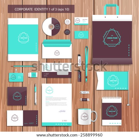 White corporate id template design, brown abstract elements. Documentation for business. Eps 10 - stock vector