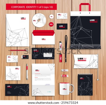 White corporate id template design with black, white, red abstract elements. Documentation for business. Eps 10 - stock vector