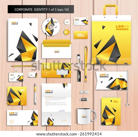 White corporate id template design with black, yellow abstract elements. Documentation for business. Eps 10 - stock vector