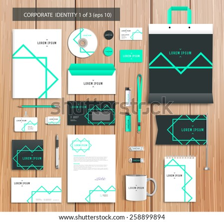 White corporate id template design with green, abstract elements. Documentation for business. Eps 10 - stock vector