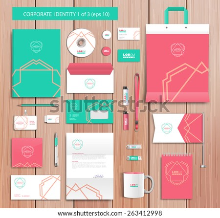 White corporate id template design with navy red, green abstract elements. Documentation for business. Eps 10 - stock vector