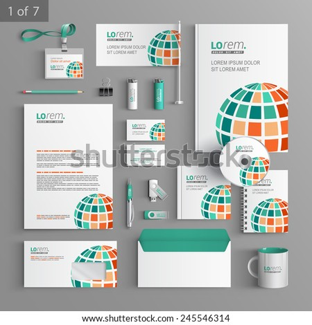 White corporate identity template design with green digital globe. Business stationery - stock vector