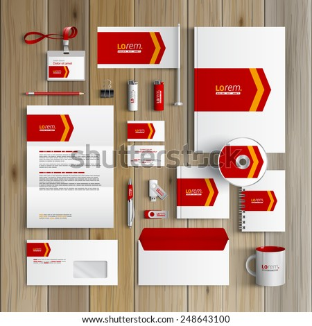 White corporate identity template design with red arrow. Business stationery - stock vector