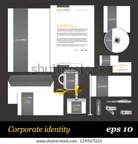 White corporate identity template with grey elements. Vector company style for brandbook and guideline. EPS 10 - stock vector