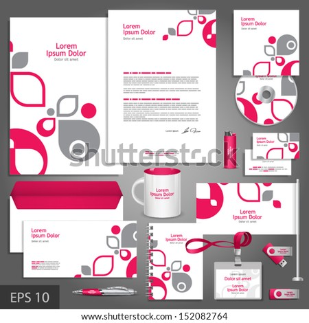White corporate identity template with pink and gray design elements. Vector company style for brandbook and guideline. EPS 10 - stock vector
