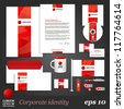 White corporate identity template with red elements. Vector company style for brandbook and guideline. EPS 10 - stock photo