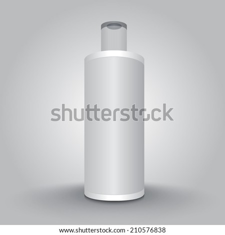 White Cosmetics Bottle. Close Up of Bottle on Background. Vector Illustration. - stock vector