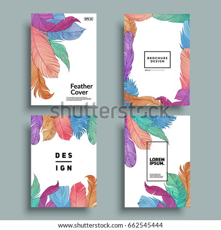 White covers with feather patterns. Hand-drawn bird feathers composition. Eps10 vector.