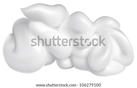 White cream isolated on white . Vector realistic illustration - stock vector