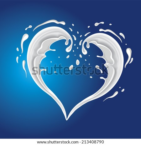 White cream milk splashes moving to each other in shape of heart as symbol of love - stock vector