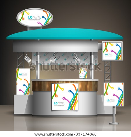 White creative exhibition stand design with color art lines in different directions. Booth template. Corporate identity - stock vector