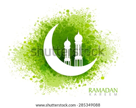 White creative mosque on glossy crescent moon on green color splash background for Islamic holy month of prayers, Ramadan Kareem celebration. - stock vector