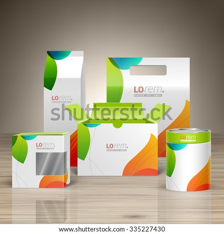 White creative promotional package design for corporate identity with color shapes. Stationery set - stock vector