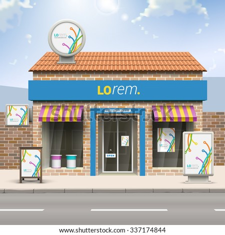 White creative store design with color art lines in different directions. Elements of outdoor advertising. Corporate identity