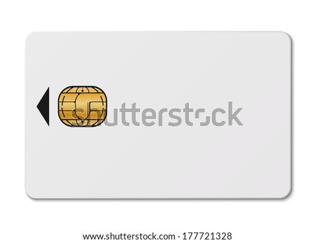 White credit card with chip isolated on white background - stock vector