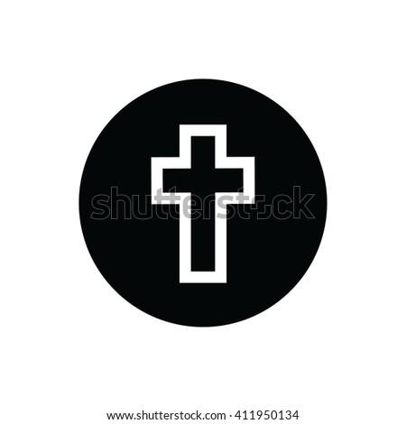 White cross symbol vector icon. Black circle. Black button - stock vector