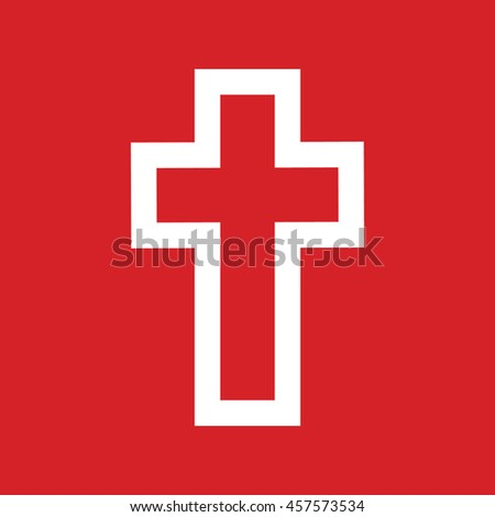 White cross vector icon. Red background - stock vector
