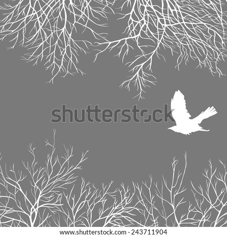 White crow on a gray sky. All elements can be painted and used separately. - stock vector