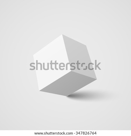 White cube. 3d cube. 3d. White box. Realistic vector. Vector illustration. - stock vector