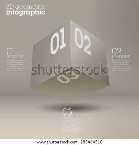 White cube infographic design / abstract form suitable for infographics, book cover or web banner or user interface