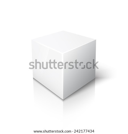 White cube on white background with reflection and shadow - stock vector